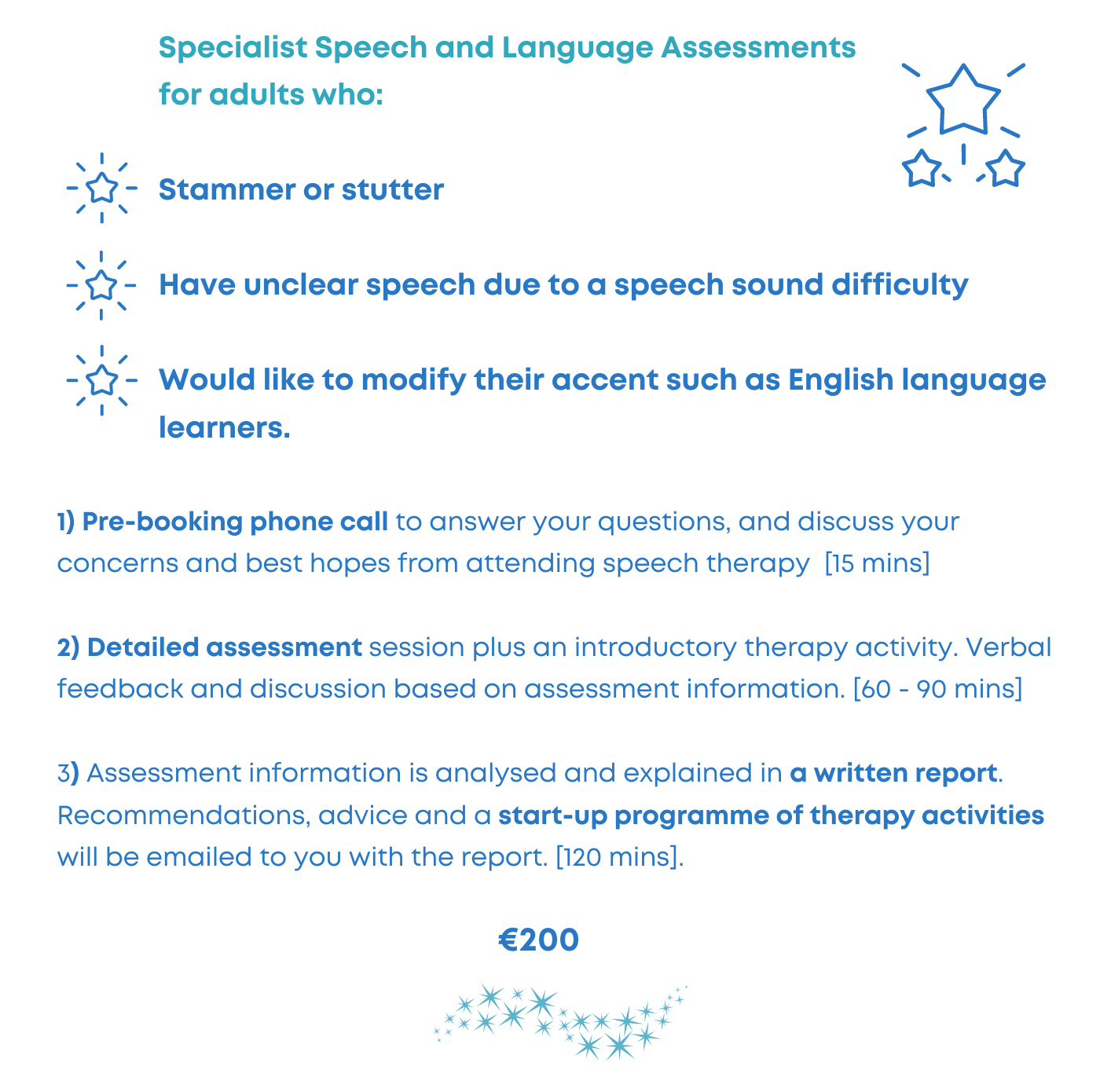 private speech therapy assessment adults stammer unclear speech
